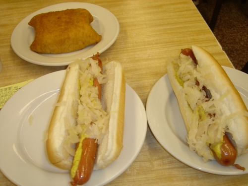 Knish and Hot Dogs at Katz's Deli