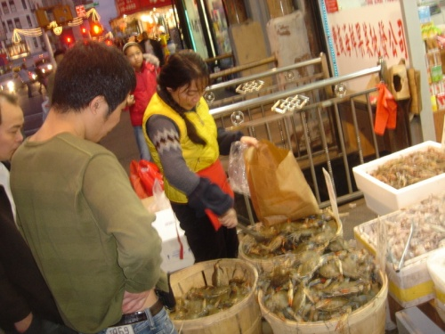 Open-air seafood market in Chinatown.