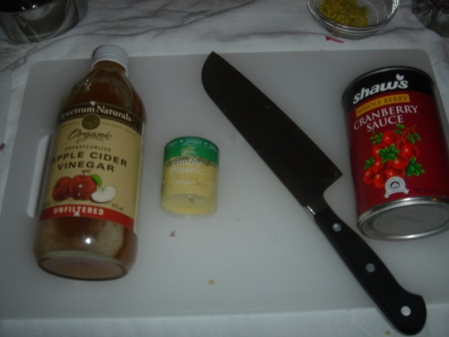 The cider vinegar, ground ginger and cranberry sauce. That's my beloved Wusthof Santoku knife.