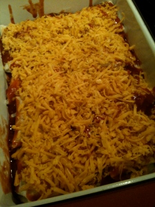 Cheesy Chicken Enchiladas ready for the oven.
